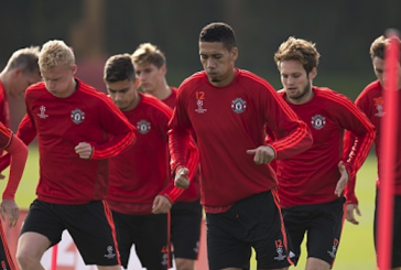 Josh Harrop trains with Manchester United's first-team ahead of Wolfsburg