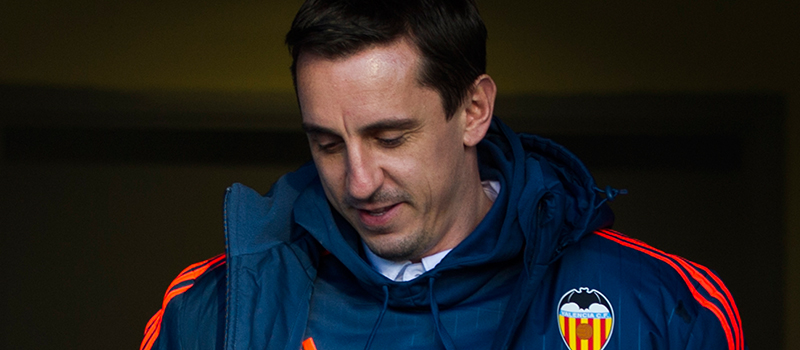 Gary Neville barks instructions at Valencia players in Manchester accent