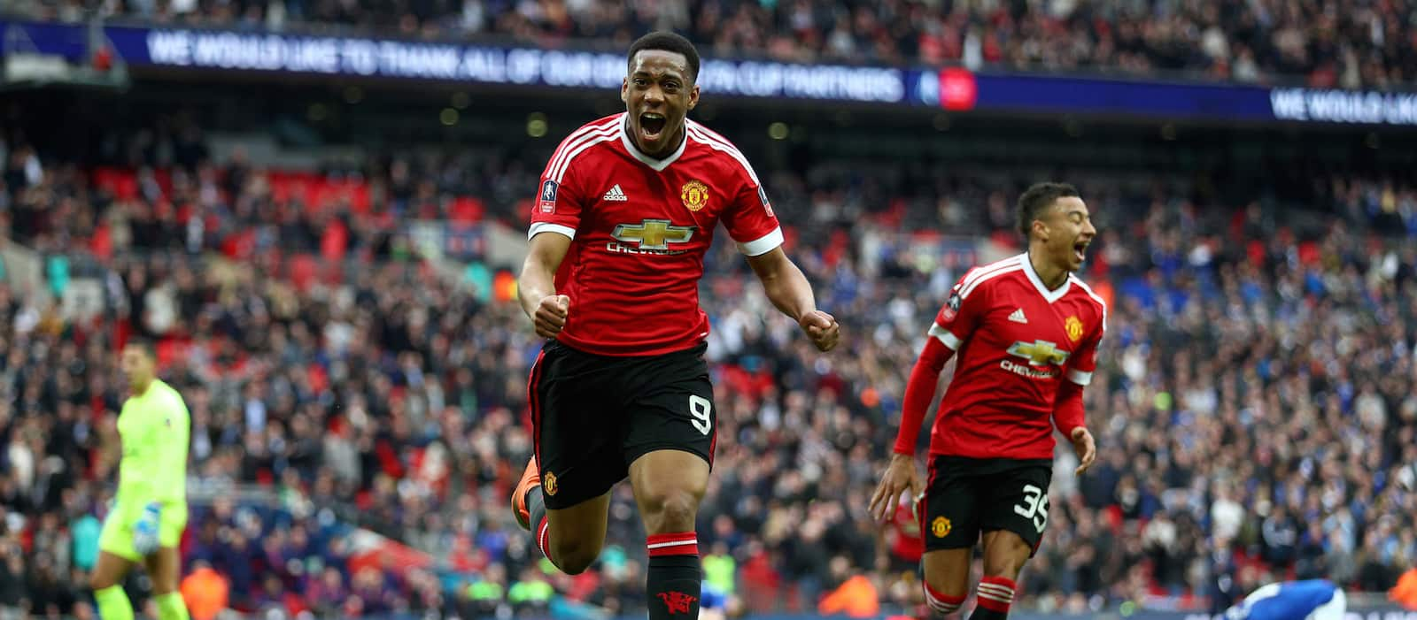 Anthony Martial thanks Man United fans after winner at Wembley