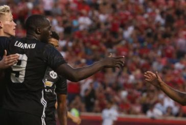 Ander Herrera reacts to Romelu Lukaku's goal against Real Salt Lake City