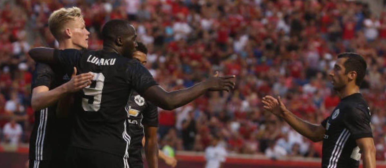 Ander Herrera reacts to Romelu Lukaku's goal against Real Salt Lake City