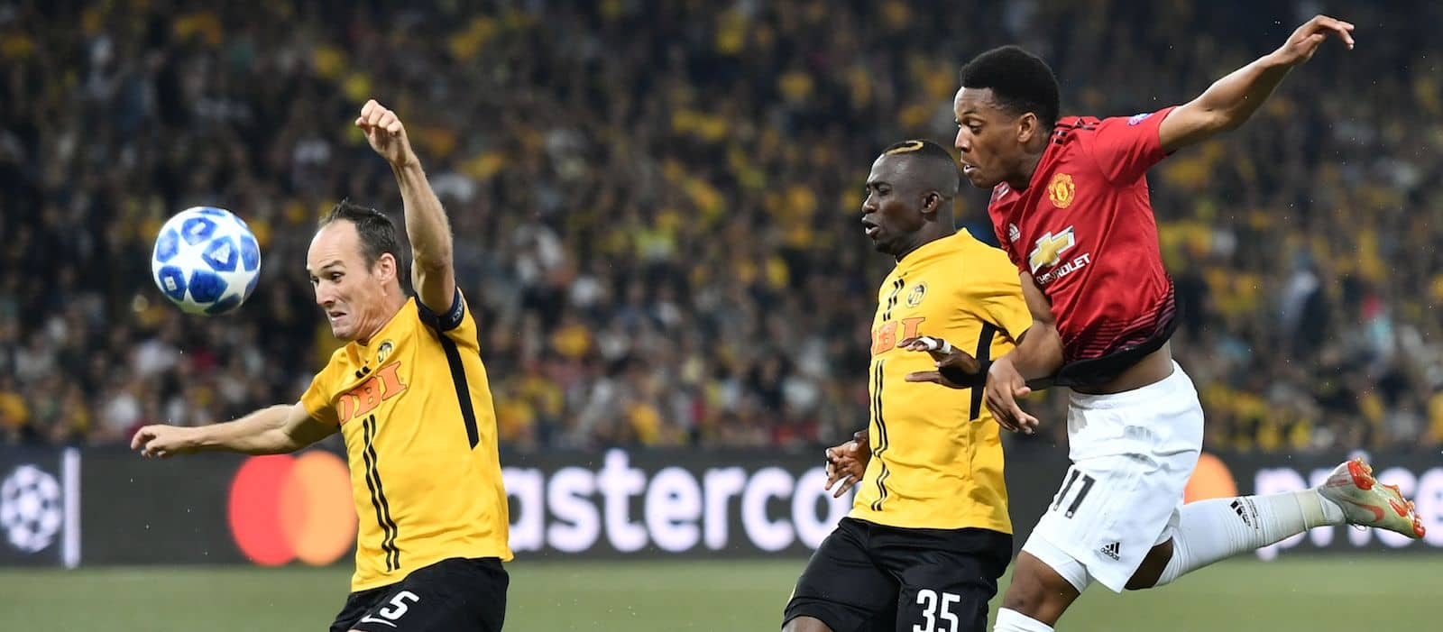 Anthony Martial reacts to Manchester United's win over Young Boys