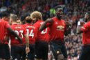 Video: Manchester United players celebrate with fans after Martial's goal against Chelsea
