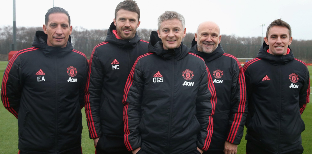 Photo gallery: Ole Gunnar Solskjaer and Mike Phelan all smiles at Carrington