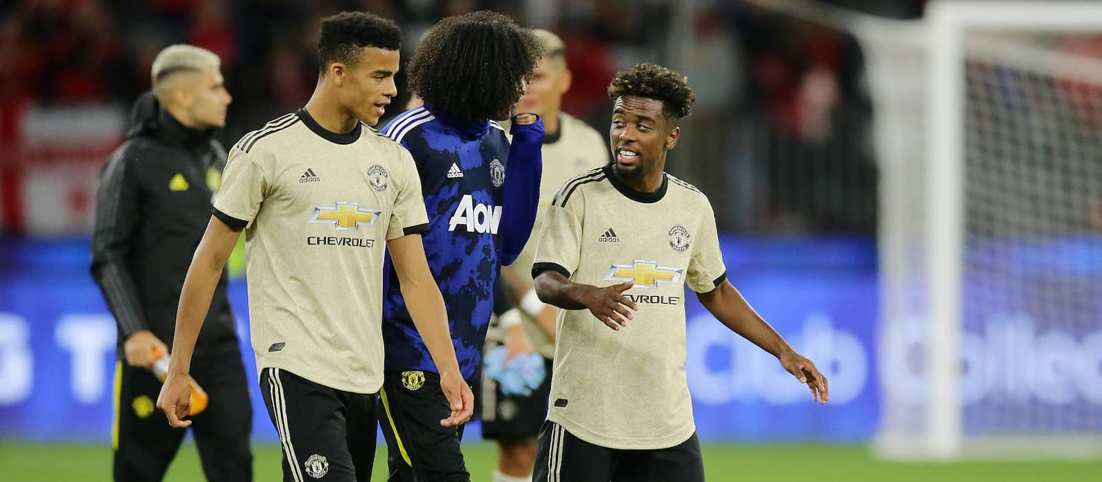 Angel Gomes reacts to scoring first senior Manchester United goal vs Tottenham Hotspur