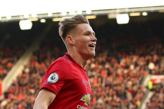 Photo: Scott McTominay with Manchester United squad for Watford clash