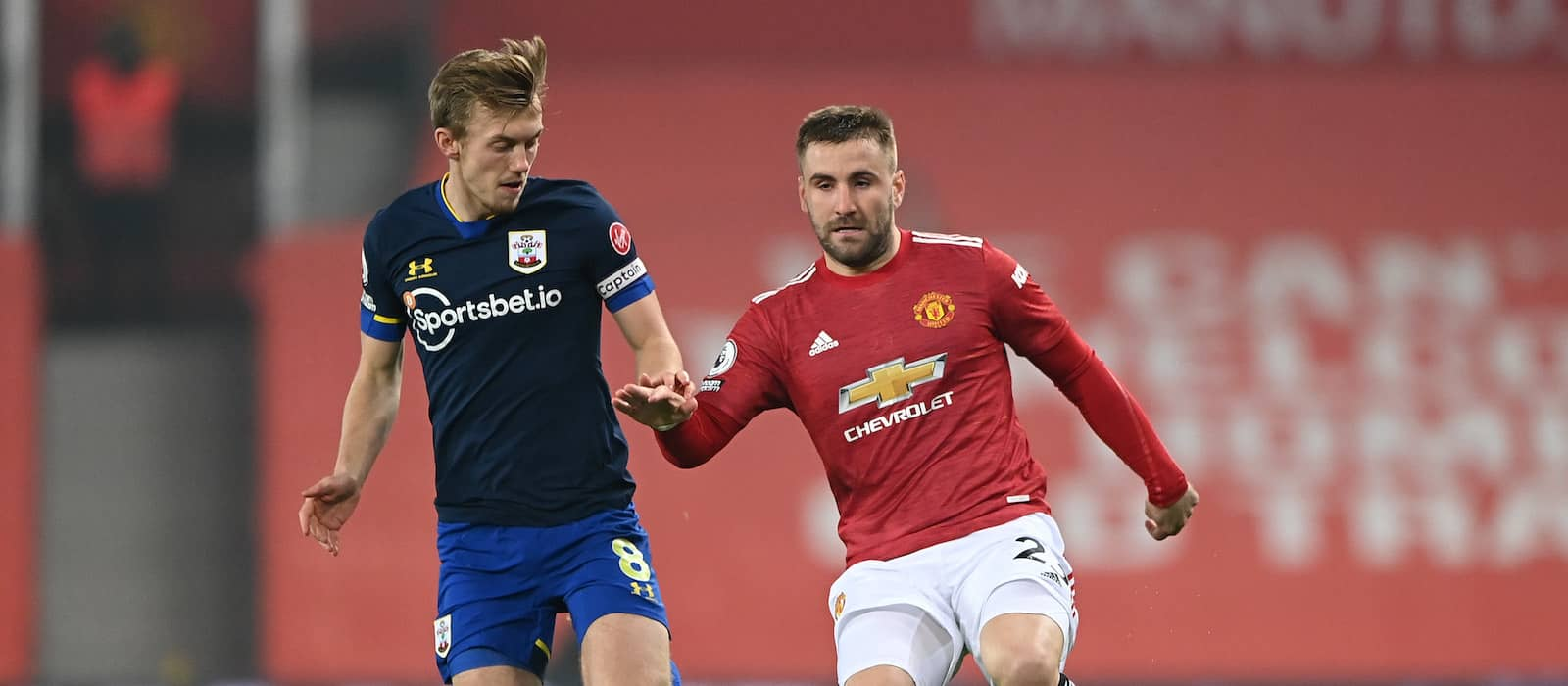 Luke Shaw and Bruno Fernandes match each other vs Southampton